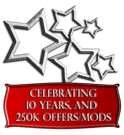 Celebrating ten years, and over 250,000 offers and modifications!